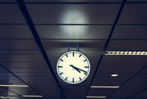 Clock on a train station