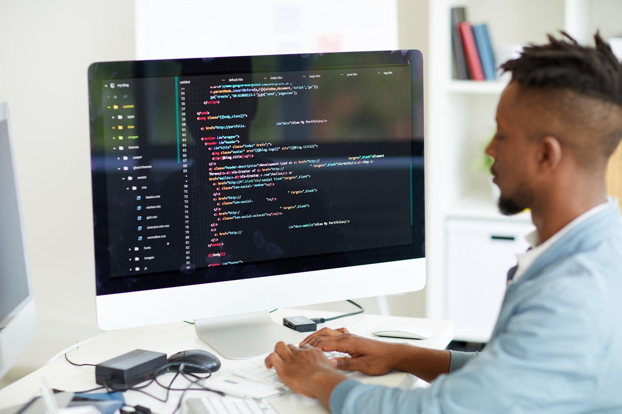 Web developer coding computer language
