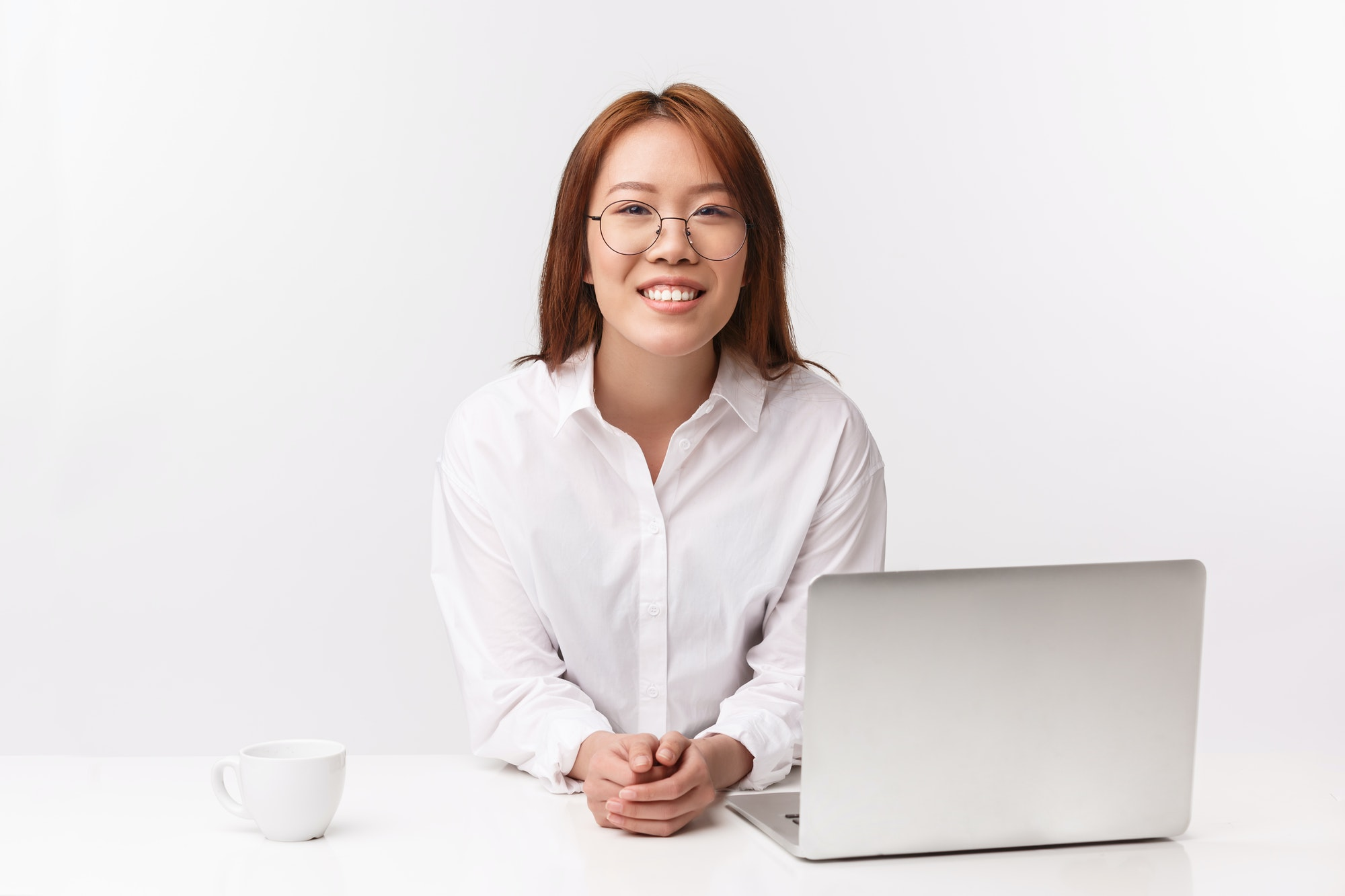 Career, work and women entrepreneurs concept. Close-up portrait of cheerful young businesswoman