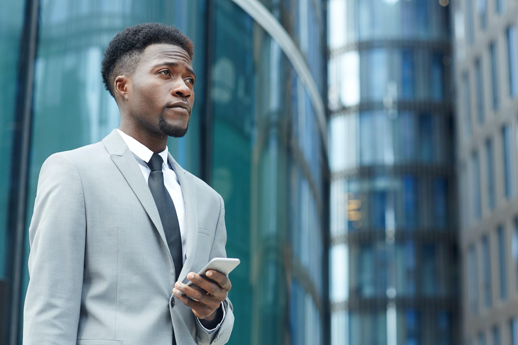 Employee with smartphone