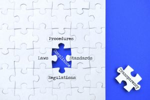 Compliance concept - having transparency in procedures to adhere to regulations laws standards